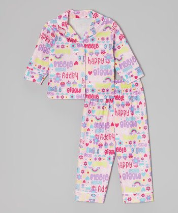Light Pink 'Sweet' Button-Up Pajama Set - Infant & Toddler
