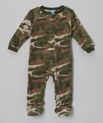 Green Camo Fleece Footie - Infant & Toddler