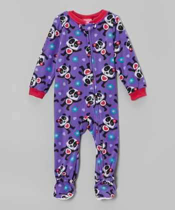 Purple Panda Fleece Footie - Toddler