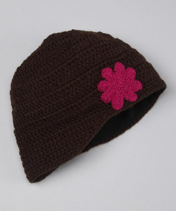 Jacob Ash Brown Daisy Knit Beanie
