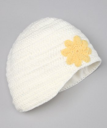 Jacob Ash White Daisy Knit Beanie