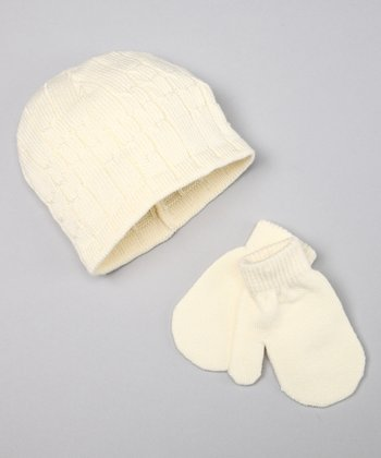 Jacob Ash Whisper White Cable Knit Beanie & Mittens