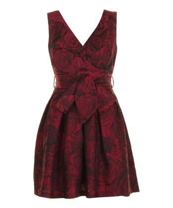 Burgundy Rose Tie-Waist Surplice A-line Dress