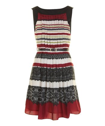 Burgundy & Black Lace Graphic Pleated A-Line Dress