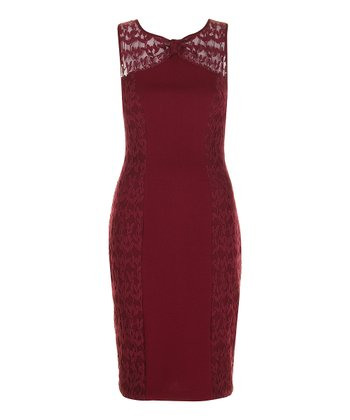 Burgundy Sheer Mesh Panel Sleeveless Sheath Dress