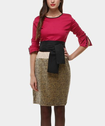 Red & Gold Cibeles Tie-Waist Dress