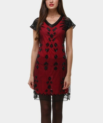 Red & Black Diamond Cap-Sleeve Dress