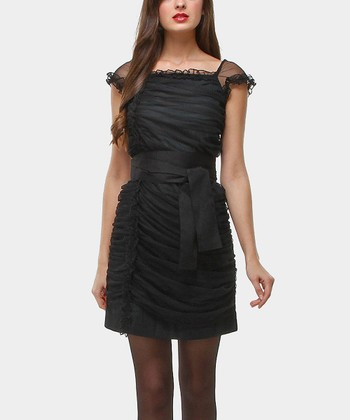 Black Edith Tie-Waist Dress