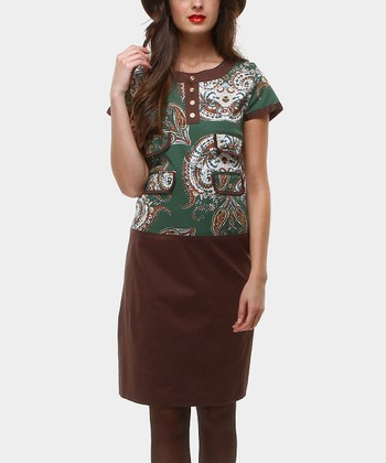 Brown & Emerald Pipermint Drop-Waist Dress