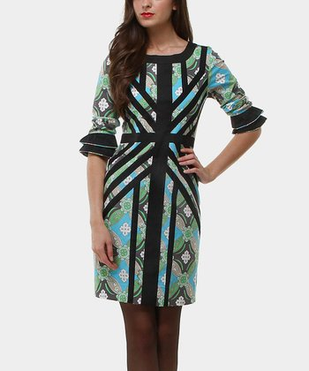 Blue & Black Retro Estrella Ruffle-Sleeve Sheath Dress