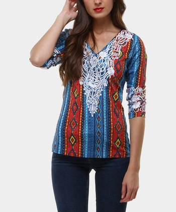 Red & Blue Makah Embellished V-Neck Top