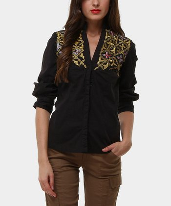 Black Winter Embellished Mandarin Collar Top
