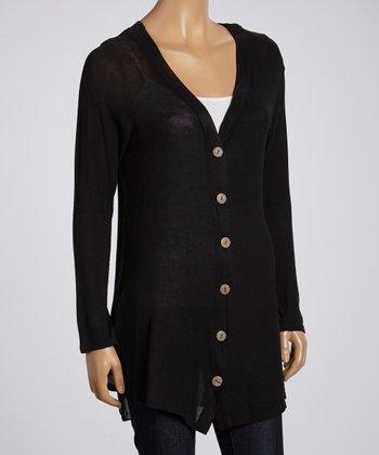 Black V-Neck Tunic Cardigan