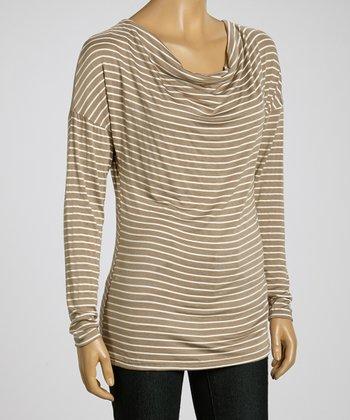 Wheat & White Stripe Long-Sleeve Drape Top