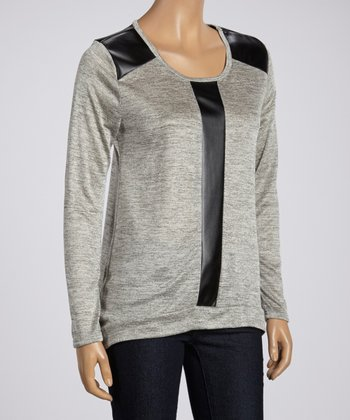 Heather Gray & Black Faux Leather Long-Sleeve Top