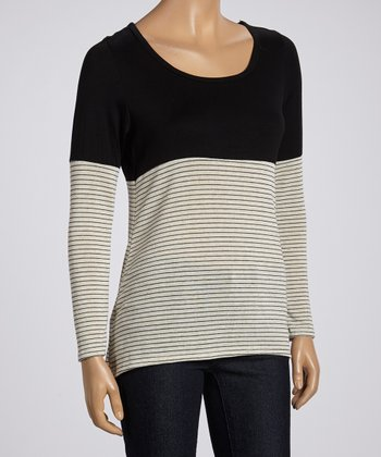 Black & White Stripe Color Block Scoop Neck Top
