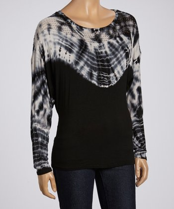 Black & White Perforated Tie-Dye Top