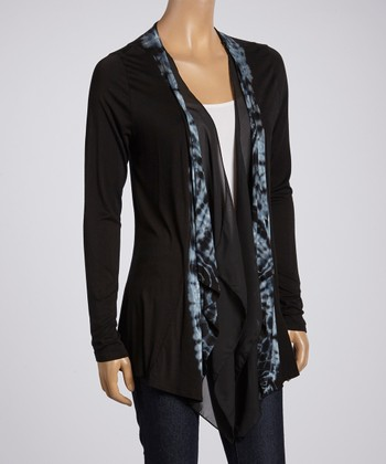 Black Tie-Dye Trim Open Cardigan