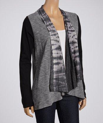 Black & Gray Tie-Dye Placket Open Cardigan