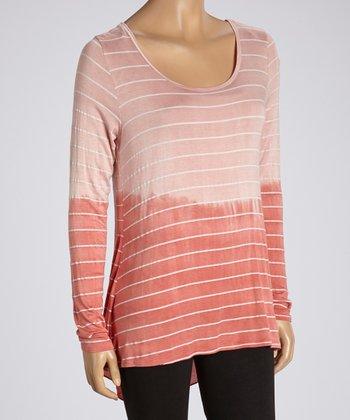 Peach & Coral Stripe Ombré Long-Sleeve Tunic