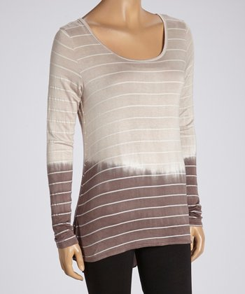 Sand & Brown Stripe Ombré Long-Sleeve Tunic