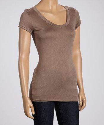Magic Fit Brown Basic Short-Sleeve V-Neck Tee - Women