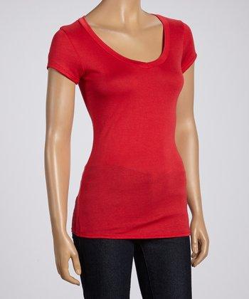 Magic Fit Red Basic Short-Sleeve V-Neck Tee - Women
