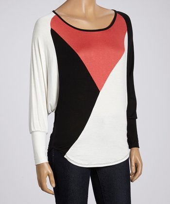 Peach & White Color Block Dolman Top