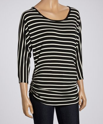 Black & White Stripe Ruched Dolman Top