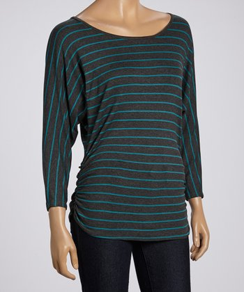 Charcoal & Teal Stripe Ruched Dolman Top