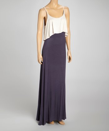 Ivory & Gray Layered Tank Maxi Dress