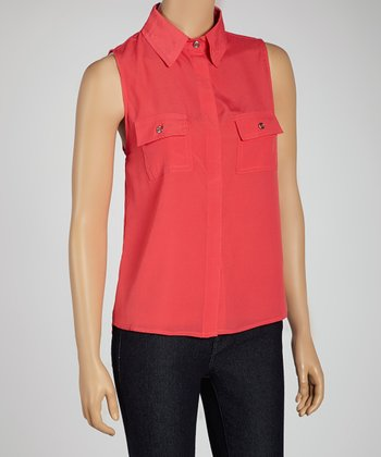 Dark Coral Sleeveless Button-Up