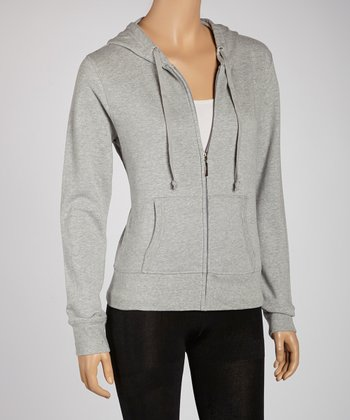Heather Gray Zip-Up Hoodie