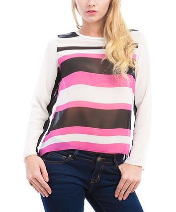 Pink & White Stripe Top