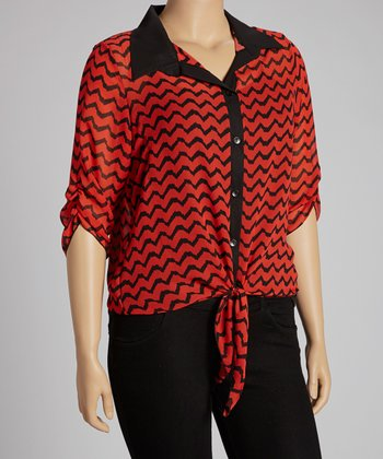 Red Tie-Front Sheer Top - Plus
