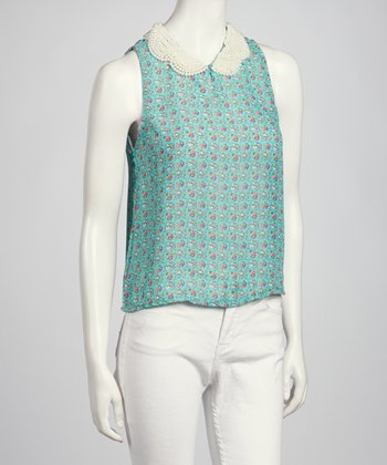 Blue & Pink Beaded Sleeveless Top