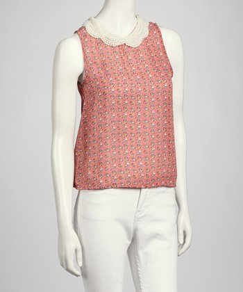 Pink & Green Beaded Sleeveless Top
