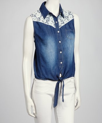 Dark Wash Blue Denim Button-Up Top