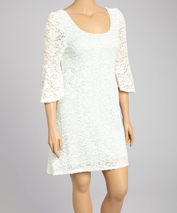 White Lace Bell-Sleeve Dress - Plus