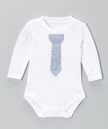 Caught Ya Lookin' Blue Stripe Tie Bodysuit - Infant