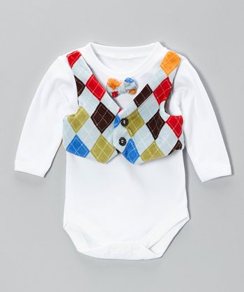 Caught Ya Lookin' Blue Argyle Vest Bodysuit - Infant