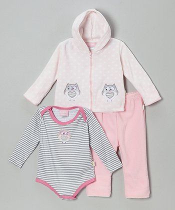 Powder Pink Owl Three-Piece Bodysuit Set - Infant