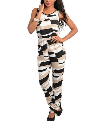 Mocha & Black Abstract Color Block Jumpsuit