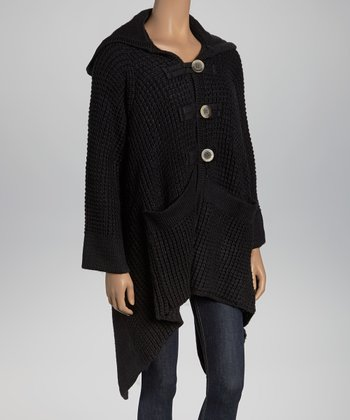 Black Thermal-Knit Hooded Cardigan