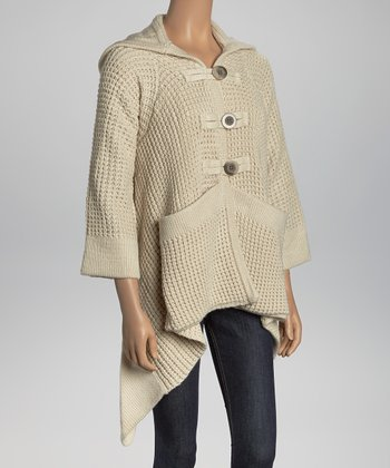 Ivory Thermal-Knit Hooded Cardigan
