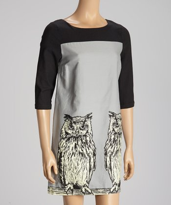 Gray & Black Color Block Owl Dress
