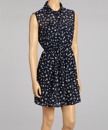 Navy & Taupe Birds Sleeveless Button Dress
