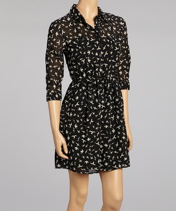 Black & Taupe Birds Button Dress