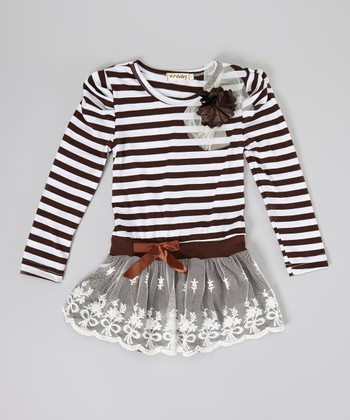 Brown Stripe Flower Dress - Infant, Toddler & Girls