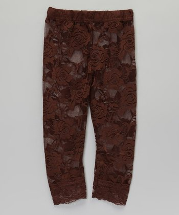 Brown Lace Leggings - Infant, Toddler & Girls